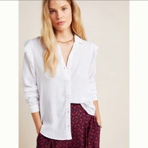 Anthropologie Cloth & Stone Ruffled Buttondown Top